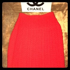 CHANEL Boutique red tweed skirt; size 40